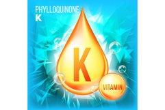 Vitamin K Phylloquinone Vector. Vitamin Gold Oil Drop Icon. Product Image 1