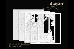 3D Wedding Light Box Template, Layered Love Shadow Box svg Product Image 3