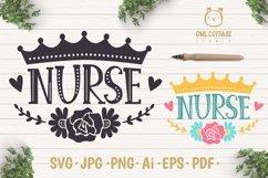 Nurse Crown with Flowers SVG, Nurse Floral SVG, Nurse Tattoo Product Image 1