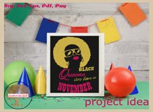 Black queens are born in November birthday t shirt design Product Image 3