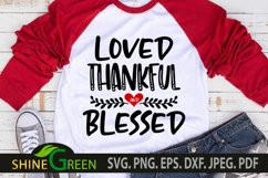 Valentine SVG - Loved Thankful and Blessed Heart SVG Product Image 1