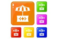 Food stall icons set vector color Product Image 1