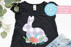 Floral Gingham Plaid Bunny Easter SVG DXF EPS PNG Cut File Product Image 1