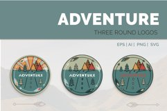 Adventure Graphic. Three round logos in doodle style Product Image 1
