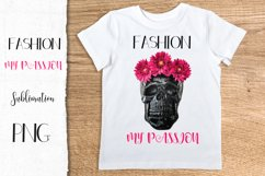 Fashion Queen Sublimation PNG Black skull pink flowers Product Image 3