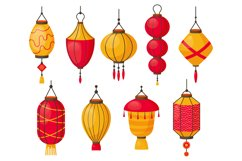 Asian lanterns. Chinese traditional red paper lamps, japanes Product Image 1