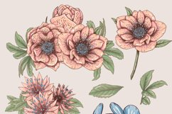 Pastel pink and blue flowers clipart, summer floral png Product Image 2