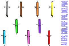 188 Coloured Pencil Cartoon Characters Illustration Bundle Product Image 2