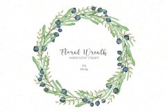 Watercolor floral wreath clipart Product Image 1