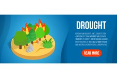 Drought concept banner, isometric style Product Image 1