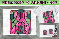 Faith over fear|Pink ribbon & cross|Breast Cancer Awareness Product Image 1
