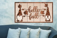 Hello Fall Shiplap Garden Gnome Sign SVG Glowforge Files Product Image 2