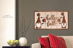 Hello Fall Shiplap Garden Gnome Sign SVG Glowforge Files Product Image 3