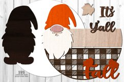 Glowforge Fall Y'all Gnome Round SVG Farmhouse Laser Files Product Image 2