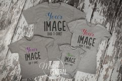Matching Family Gray T-Shirt Mockup Photo Flatlay Product Image 1