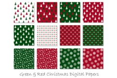 Christmas Digital Paper - Red and Green Christmas Background Product Image 2