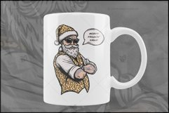 Cool Santa in Leopard, Christmas Sublimation T-Shirt Design Product Image 5