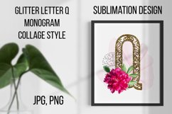 Gold lase letter Q, Monogram collage, Sublimation design Product Image 1