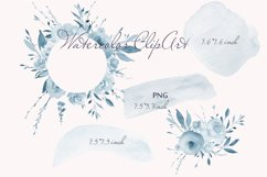 Blue Watercolor Floral Clipart Frame Product Image 4