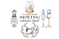 Sewing. Watercolor clipart Product Image 1