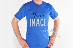 Man in Blue T-Shirt Mock Up, Men's Mockup JPG Shirt Product Image 1