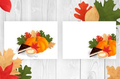 Autumn composition with pumpkin, leaves, coffee, cake Product Image 6