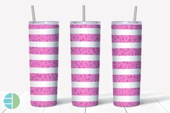 Skinny Tumbler Sublimation Design Pink Animal Print Glitter Product Image 2