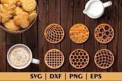 Bundle of Decorative Circle Coasters. Coaster SVG. Laser cut Product Image 4