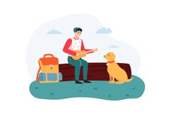 Boy sitting on log and playing guitar, dog sitting near hike Product Image 1