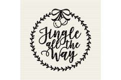 Jingle all the Way with wreath Christmas design- SVG design Product Image 2