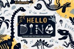 Dinosaur skeletons vector clipart, alphabet, patterns Product Image 1