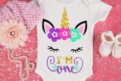 First Birthday SVG - 1st svg - Baby svg - Unicorn svg - ONE svg - Baby girl - birthday design Product Image 1