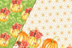 Pumpkins and flowers digital paper pack Product Image 4