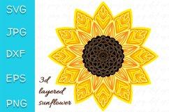 3D Layered Sunflower SVG. Mandala Cut file. 7 layers Product Image 1