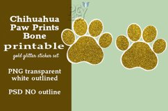 Chihuahua Gold Glitter Printable Sticker SET Product Image 2