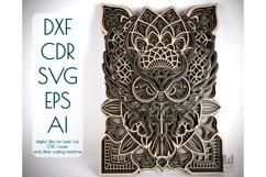 M43 - OWL Mandala DXF, Layered Owl Mandala for laser cut Product Image 1