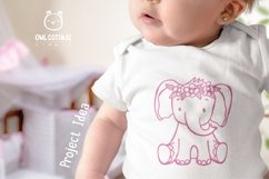 Little Elephant with Flowers Crown Svg , Baby Elephant Cut F Product Image 4