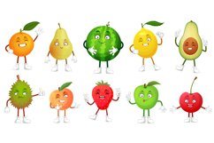 Cartoon fruit character. Happy fruits mascot funny durian, s Product Image 1