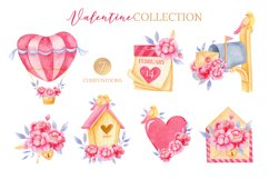 Valentine's day clipart, Bird clipart, Watercolor clipart Product Image 4