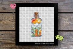 Mini bottle cross stitch pattern PDF, Mason jar Xstitch fox Product Image 9