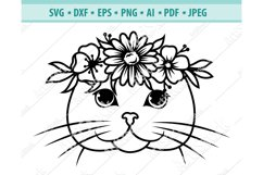 Cat with Flower Crown SVG, Cat Face Svg, Cat Png ,Dxf, Eps Product Image 1