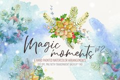 Watercolor Christmas arrangements. Winter flowers collection Product Image 1