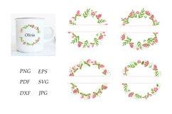 Monogram Flower Bundle. Floral Monogram Frame. Pink Flowers Product Image 1
