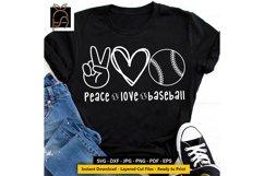 Peace Love Baseball - Baseball Player SVG DXF EPS PNG Product Image 1