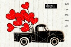 Red truck Svg, Retro car, Hearts svg, i love you Shirt, Card Product Image 1