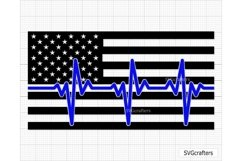 Heartbeat American Flag SVG, Police SVG, Back the blue svg Product Image 2