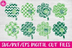 Patterned Monogram Clovers - SVG, DXF, EPS Cut Files Product Image 1