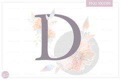 Letter D Floral MONOGRAM - dusty color flower initial Product Image 2