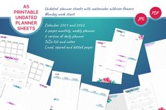Undated printable planner sheets with watercolor flower A5 Product Image 1