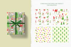Christmas Gnomes Watercolor seamless patterns. Digital paper Product Image 4